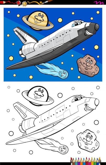 Livre de coloriage personnage navette spatiale Vecteur Premium