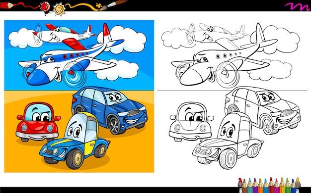 Livre de coloriage personnages et avions Vecteur Premium