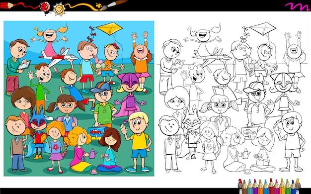 Livre de coloriage personnages ludiques pour enfants Vecteur Premium