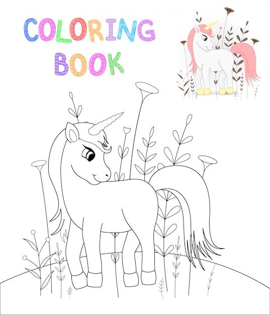 Livre De Coloriage Pour Enfants Avec Des Animaux De Dessins Animes Vecteur Premium