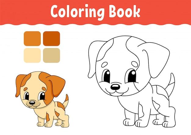 Livre de coloriage pour les enfants. caractère gai. Vecteur Premium