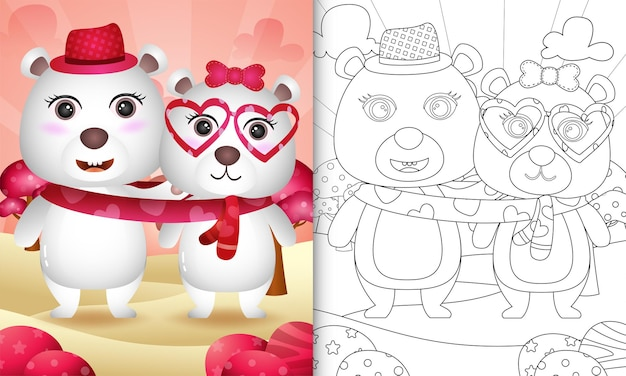 Livre De Coloriage Pour Les Enfants Avec Un Joli Couple D'ours Polaires De La Saint-valentin Vecteur Premium