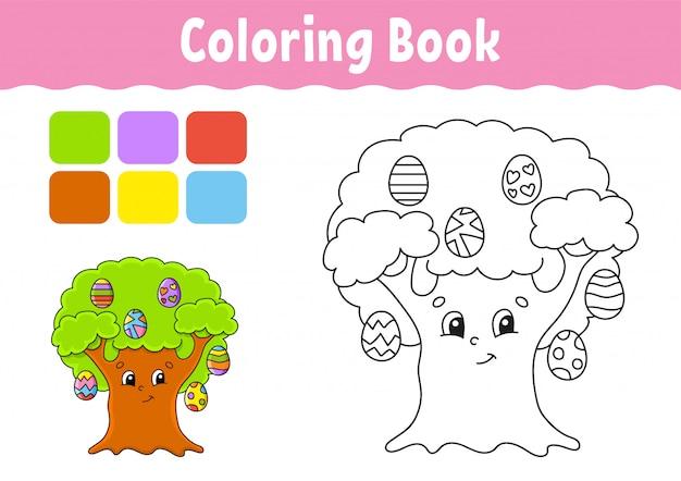 Livre De Coloriage Pour Les Enfants Oeuf De Paques Caractere Gai Style De Dessin Anime Mignon Page Fantastique Pour Les Enfants Vecteur Premium