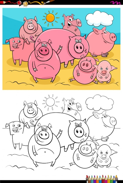 Livre de couleur du groupe de personnages animaux cochons heureux Vecteur Premium