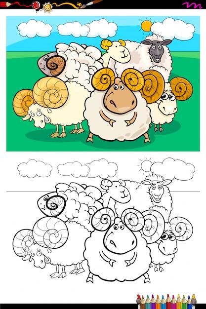 Livre de couleur du groupe de personnages d'animaux de moutons Vecteur Premium