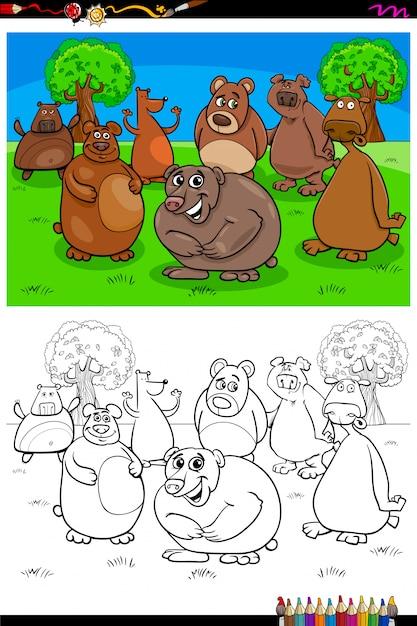 Livre de couleur du groupe de personnages animaux ours heureux Vecteur Premium