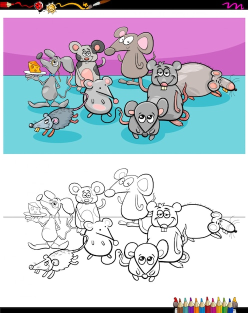 Livre de couleur du groupe de personnages animaux souris heureux Vecteur Premium