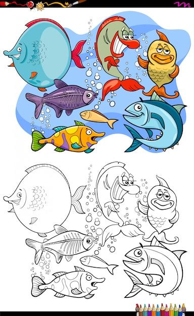 Livre de couleur du groupe de personnages de poissons animaux heureux Vecteur Premium