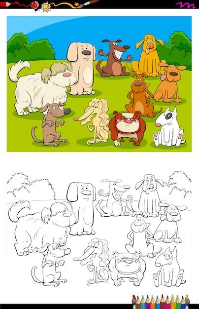 Livre de couleurs du groupe de personnages de chiens Vecteur Premium