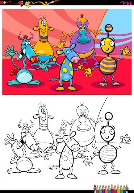 Livre de couleurs du groupe de personnages extraterrestres ou monstres Vecteur Premium