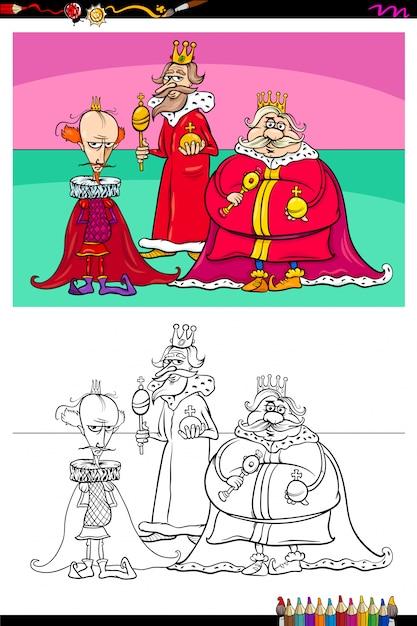 Livre de couleurs du groupe de personnages fantastiques de kings Vecteur Premium