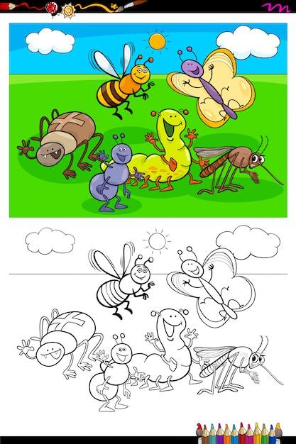 Livre de couleurs du groupe de personnages d'insectes heureux Vecteur Premium