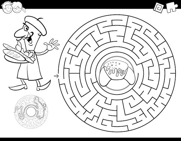 Livre de couleurs du labyrinthe avec boulanger et croissant Vecteur Premium
