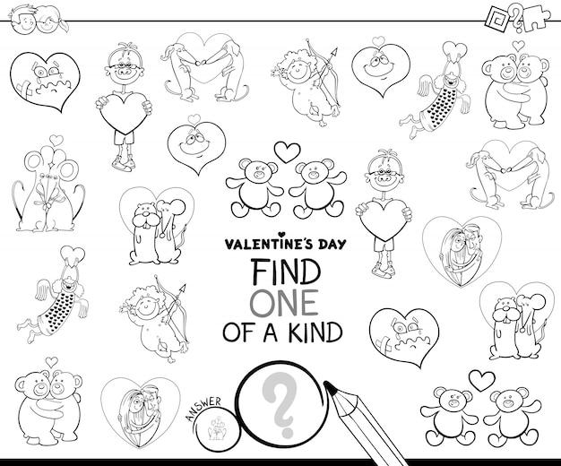 Livre de couleurs de personnage unique de la saint-valentin Vecteur Premium