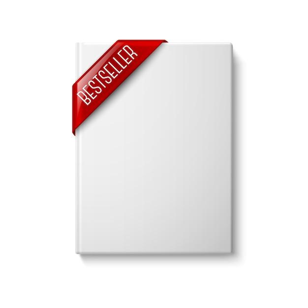 Livre à Couverture Rigide Vierge Blanc Réaliste, Vue De Face Avec Ruban De Coin Rouge Best-seller. Isolé Sur Fond Blanc Pour La Conception Et La Marque. Vecteur Premium