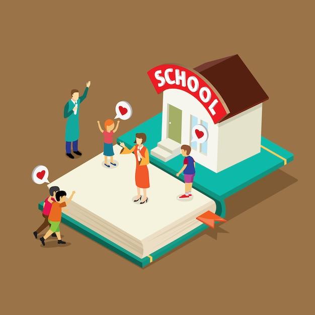 Livre d'éducation avec isométrique Vecteur Premium