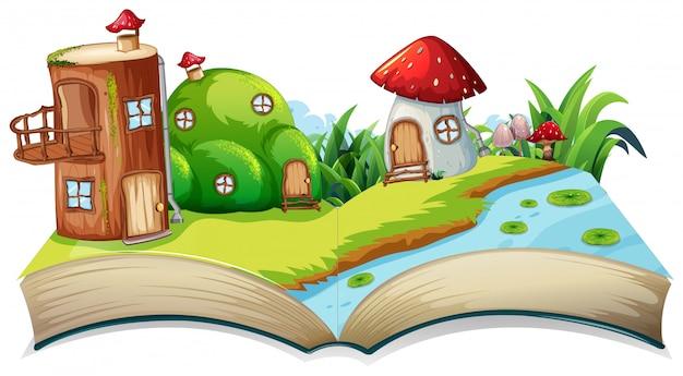 Un livre de fées à livre ouvert Vecteur Premium