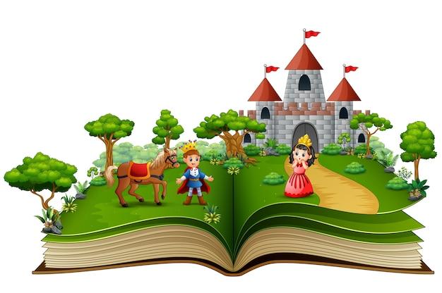 Livre d'histoire de princes et de princesses dans la cour royale Vecteur Premium