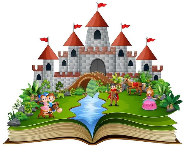 Livre d'histoire avec des princesses de dessins animés Vecteur Premium