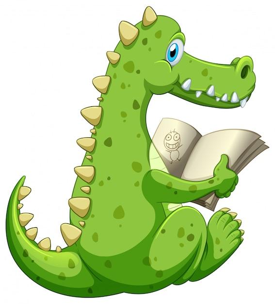 Livre De Lecture De Crocodile Sur Fond Blanc Vecteur Premium