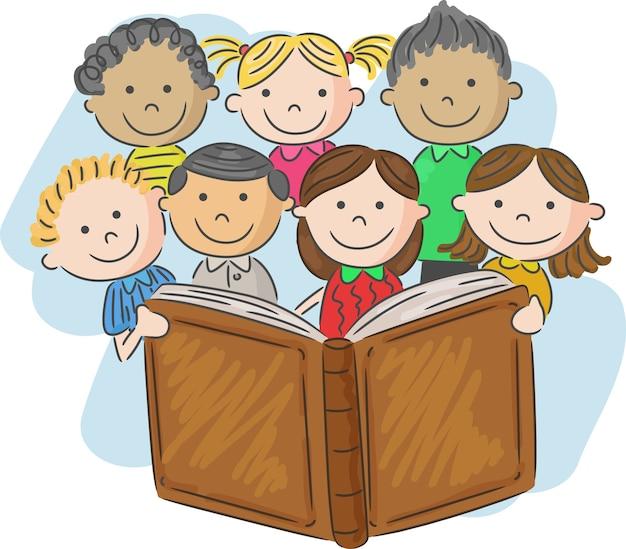 Livre De Lecture De Dessin Animé Petit Enfant | Vecteur Premium
