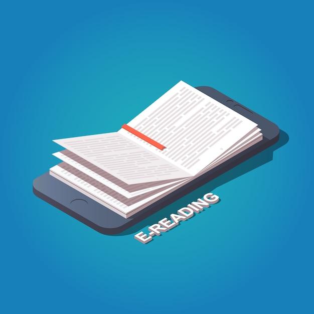 Livre de lecture du concept de téléphone mobile Vecteur Premium