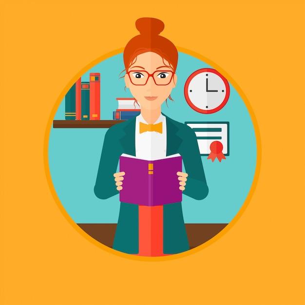 Livre de lecture de l'étudiant. Vecteur Premium