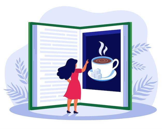 Livre Lecture Femme, Sur, Café Vecteur gratuit