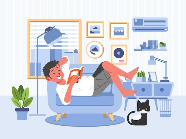 Livre De Lecture Garçon Tout En Se Couchant Sur Le Canapé Dans L'illustration Du Salon. Utilisé Pour L'affiche, L'image Web Et Autres Vecteur Premium
