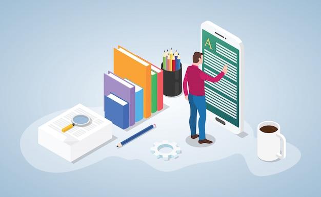Livre de lecture en ligne ou numérique avec des personnes lues sur un smartphone avec un style isométrique Vecteur Premium