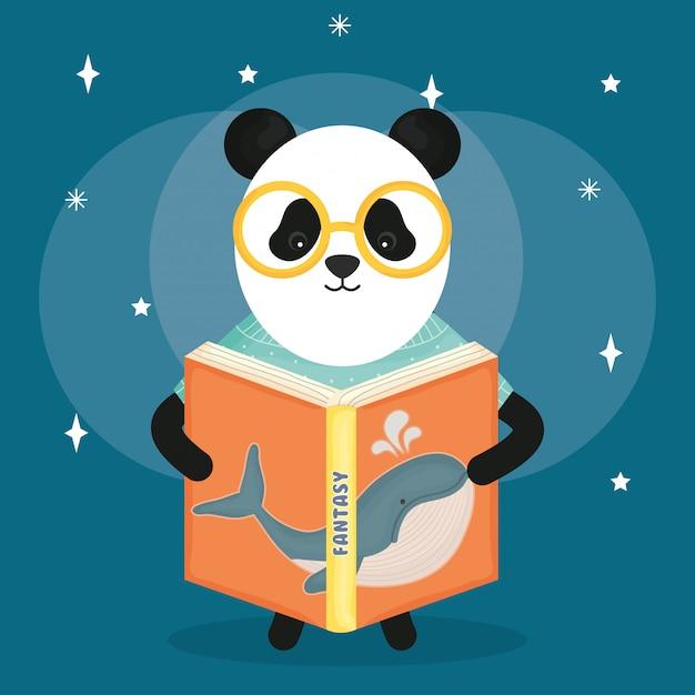 Livre de lecture mignon panda ours Vecteur Premium