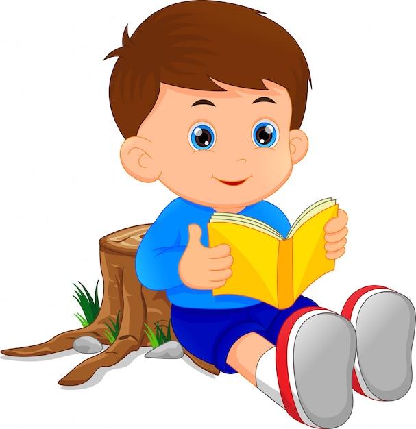 Livre de lecture mignon petit garçon Vecteur Premium