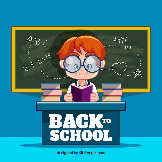Livre de lecture nerd dans la salle de classe Vecteur gratuit