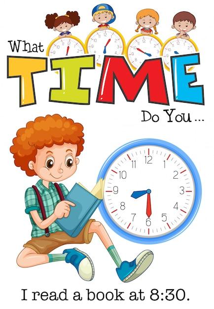 Un livre de lecture pour garçon à 8h30 Vecteur Premium
