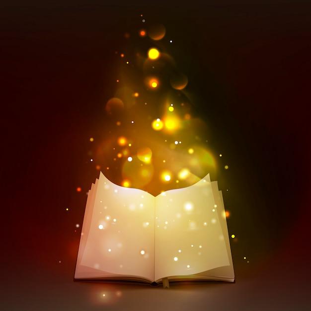 Livre Ouvert 3d Avec Des Lumières Magiques Vecteur gratuit