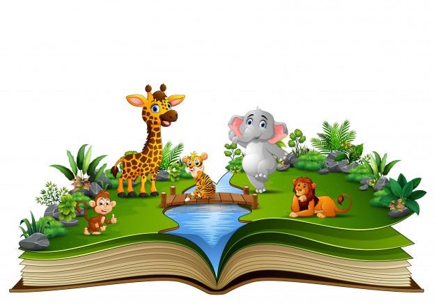Livre Ouvert Avec Le Dessin Animalier Jouant Dans La Riviere