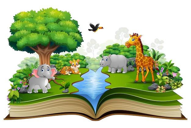 Livre ouvert avec le dessin animalier jouant dans la rivière Vecteur Premium