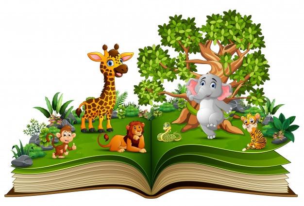 Livre ouvert avec dessin animalier Vecteur Premium