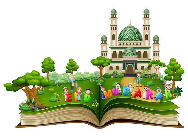 Livre ouvert avec des enfants islamiques heureux et texte coloré Vecteur Premium