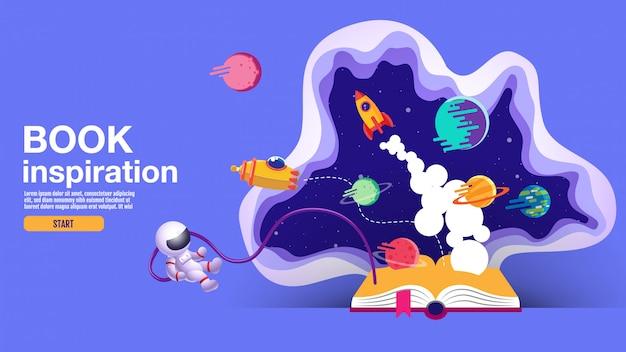Livre ouvert, fond de l'espace, école, lecture et apprentissage Vecteur Premium