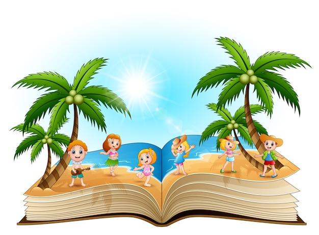 Livre ouvert avec un groupe d'enfants heureux sur la plage Vecteur Premium