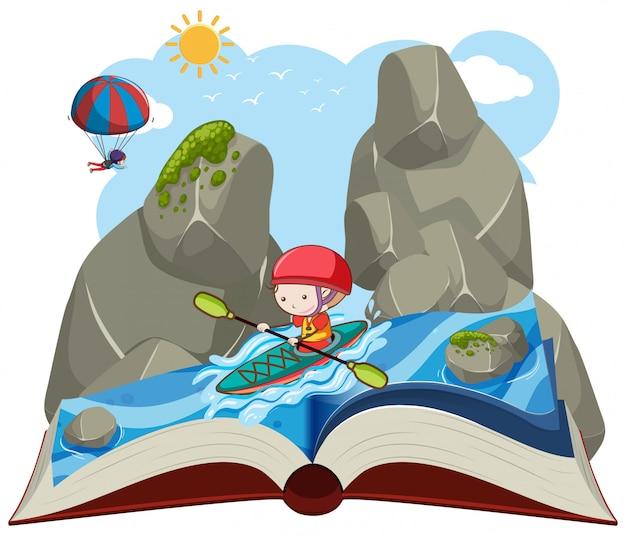 Un livre ouvert en kayak Vecteur Premium