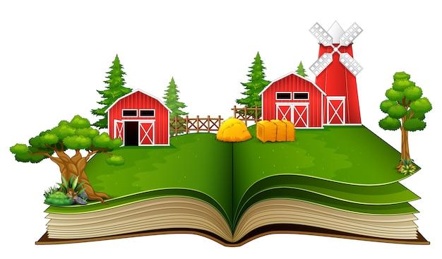Livre ouvert avec scène de ferme Vecteur Premium