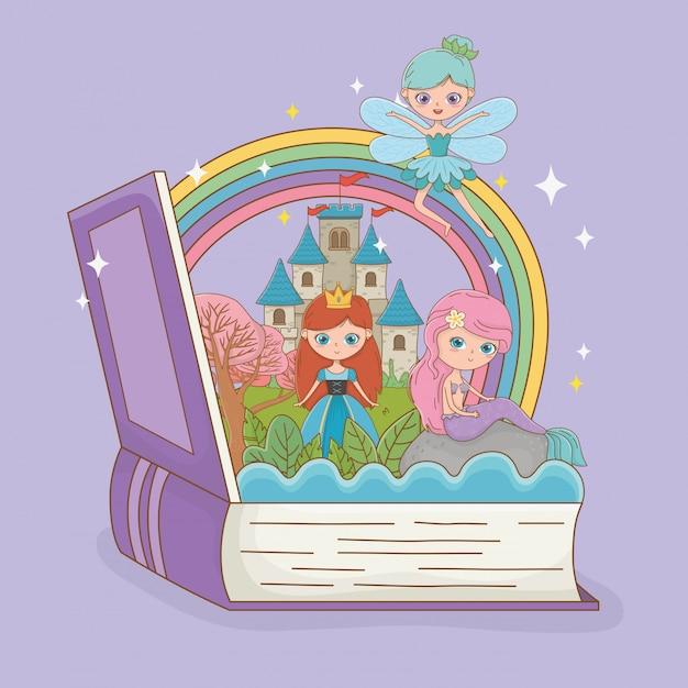 Livre ouvert avec sirène de conte de fées avec fée et princesse Vecteur gratuit