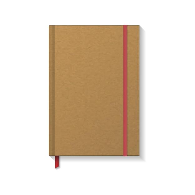 Livre De Papier Kraft Brun Blanc Ou Cahier Avec Signet élastique Rouge Et Ruban Vecteur Premium
