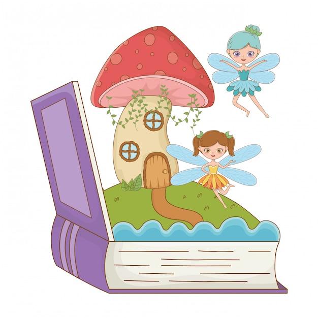 Livre et personnage de l'illustration vectorielle de conception de conte de fées Vecteur Premium