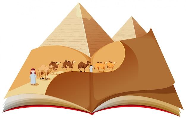 Un livre pop up avec une caravane du désert Vecteur Premium