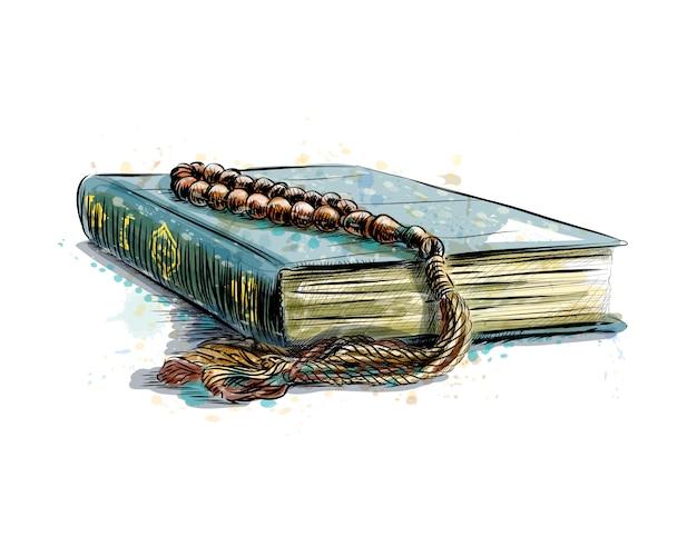 Livre Sacré Du Coran Avec Chapelet, Illustration Vectorielle De Croquis Dessinés à La Main Vecteur Premium