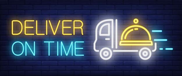 Livrer le signe de l'heure dans le style néon Vecteur gratuit