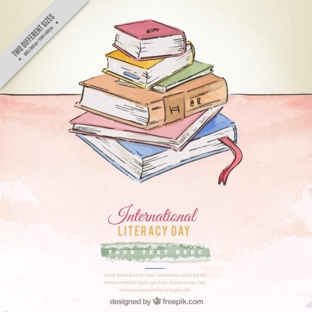 Livres colorés pour la journée internationale de l'alphabétisation Vecteur gratuit